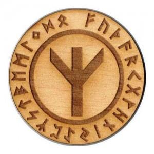 Wróżbiarstwo i ezoteryka Runa Algiz 5 cm - amulet drewniany